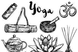 Yoga Sketch Icon Set