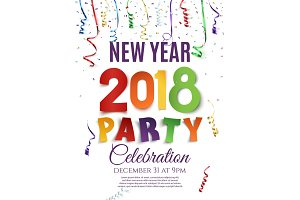 New Year 2018 party poster.