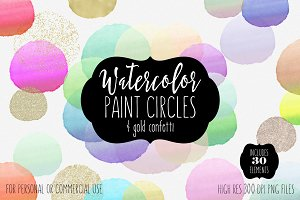 Watercolor Brush Circles & Gold
