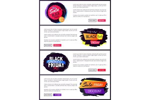 Big Sale Black Friday Website Vector Illustration