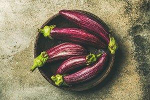 Fall harvest purple eggplants