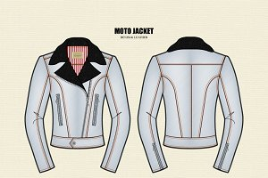Women Moto Jacket Vector Template