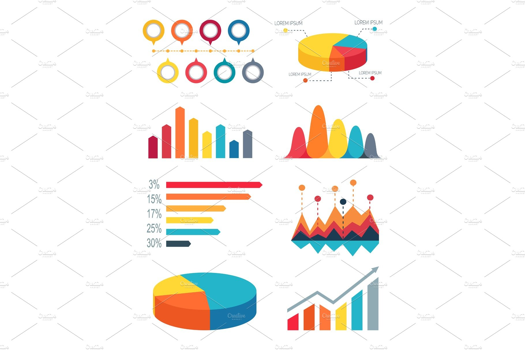 Pie chart and bar graphs vector illustration illustrations set of pie charts and bar graphs for infographic nvjuhfo Image collections