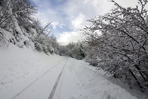 Winter and snow roads,