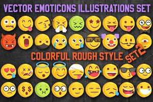 36 Rough Sketch Vector Emoji Set2