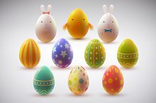 Easter eggs. Holiday set.