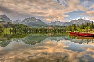 Glacial mountain lake Strbske Pleso in National Park High Tatra
