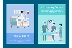 Hospital and Operating Room Vector Illustration