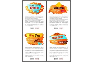 Special Offer Autumn Sale Posters Set Promo Advert