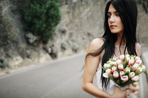 Bride with bouquet of tulips