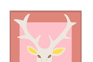 Deer head icon, flat background