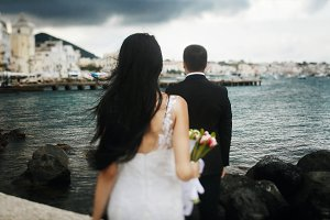 Bride at groom standing on the rocks