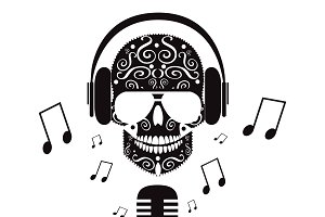Skull vector DJ with black and white