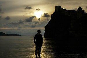 Sunrise illuminates the silhouette