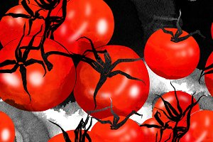 red tomatoes seamless pattern | JPEG