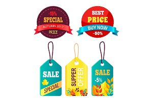 Stickers Set Ready to Use in Shopping Promo Text