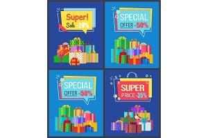 Super Sale Special Offer Set Vector Illustrations