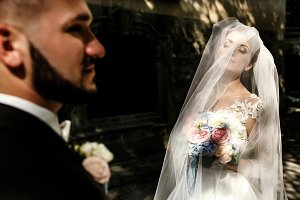 Gorgeous bride hidden under a veil