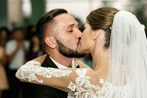 Wedding couple after their first da