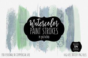 Watercolor Brush Strokes Pistachio