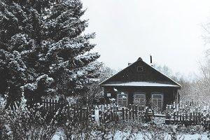 winter in Russia. deaf village.