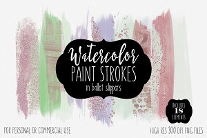 Watercolor & Confetti Paint Strokes