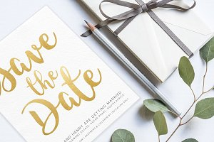 Gold & White Save the Date Template
