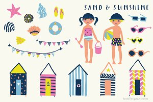 Sand and Sunshine Clip Art Set