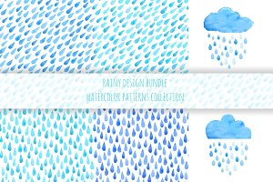 Watercolor rain drops pattern bundle