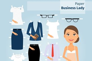 Business lady paper doll