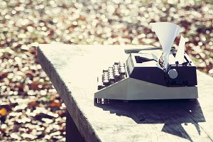retro writing concept - an old typewriter to write messis, telegrams, books