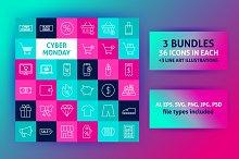 Cyber Monday Line Art Icons