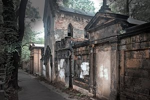 Old tombs at the Prague Cemetery
