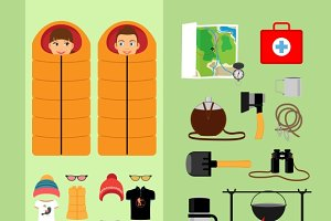 Camping concept. Boy and girl