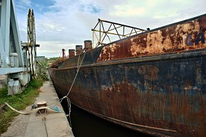Bow of an old rusty ship