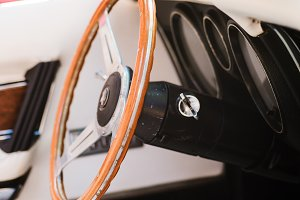 Close-up of a steering wheel of vintage car