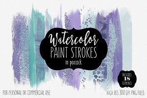 Peacock Watercolor Brush Stroke Set