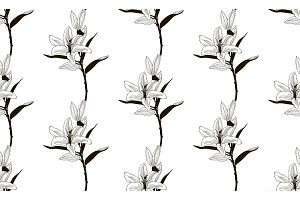Vector Black Seamless Pattern with Drawn Lilies