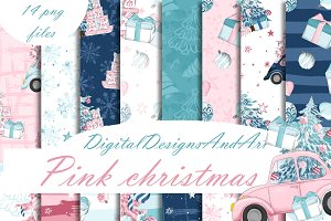 Pink christmas patterns
