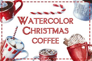 Watercolor Christmas coffee