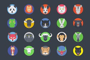 40 Flat Animal Avatars