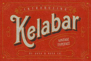 Kelabar - Vintage Typeface 30% Off