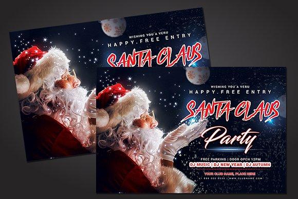 santa party flyer template flyer templates creative market