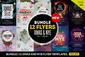 BUNDLE 75%OFF - 12 XMAS & NYE FLYERS