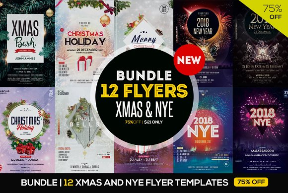 Bundle 75off 12 Xmas Nye Flyers Flyer Templates Creative Market