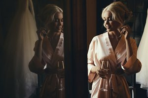 Blonde lady in silk robe