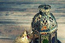 dates, arabic lantern and rosary