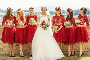 Stunning blonde bride and bridesmaid