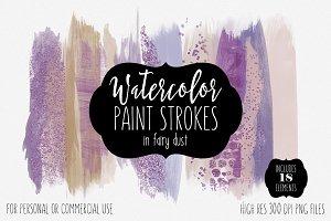 Purple Watercolor Brush Strokes