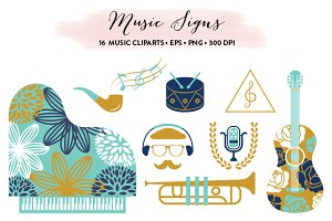 Music Cliparts Collection EPS & PNG